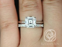 Rosados Box Skinny Denise 8mm & Gabriella 14kt White Gold Asscher F1- Moissanite and Diamonds Tulip Cathedral Solitaire Wedding Set