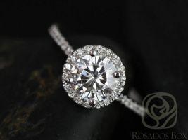 SALE Rosados Box Ready to Ship Kimberly 6.5mm Platinum Round FB Moissanite Diamonds Halo Engagement Ring