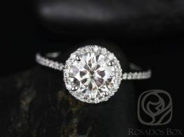 SALE Rosados Box Ready to Ship Kimberly 7.5mm Platinum Round FB Moissanite Diamonds Halo Engagement Ring