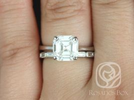 Rosados Box Skinny Denise 8mm & Rihani 14kt White Gold Asscher F1- Moissanite and Diamonds Tulip Cathedral Solitaire Wedding Set