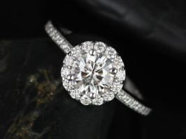SALE Rosados Box Ready to Ship Marisol 6mm 14kt White Gold Round Halo FB Moissanite and Diamonds Scooped Gallery Engagement Ring