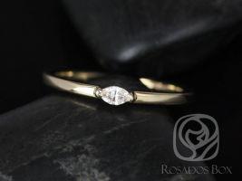 Rosados Box DJ 14kt Yellow Gold Marquise Diamond Extra Low Thin Skinny Ring