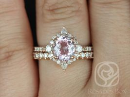 Rosados Box Ready to Ship Jadis 1.86cts 14kt Rose Gold Oval Blush Champagne Spinel and Diamonds Star Halo Wedding Set