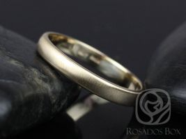 Rosados Box Steve 3mm 14kt Yellow Gold Oval Plain Non-Comfort Fit Matte or High Finish Band (Chic Classics Collection)