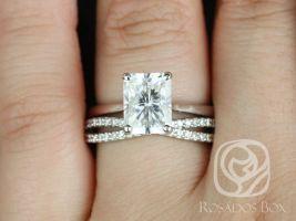 Rosados Box Skinny Nancy 9x7mm & Skinny Lima 14kt White Gold Radiant F1- Moissanite and Diamonds Wedding Set