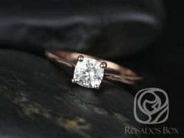 SALE Rosados Box Ready to Ship Skinny Florence 5.5mm 14kt Rose Gold Cushion FB Moissanite Tulip Cathedral Solitaire Engagement Ring