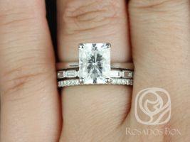 Rosados Box Skinny Nancy 9x7mm, Rihani, & Kubian 14kt White Gold Radiant F1- Moissanite and Diamonds TRIO Wedding Set