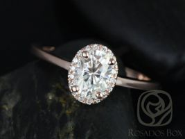 Rosados Box Ready to Ship Celeste 7x5mm 14kt Rose Gold Oval F1- Moissanite and Diamonds Pave Halo Engagement Ring