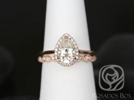 SALE Rosados Box Ready to Ship Julie 9x6mm & Christie WITH Milgrain 14kt Rose Gold Pear FB Moissanite and Diamonds Halo Wedding Set