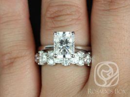 Rosados Box DIAMOND FREE Skinny Nancy 9x7mm & Hazel 14kt White Gold Radiant F1- Moissanite Wedding Set