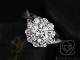 SALE Rosados Box Ready to Ship Renee 6.5mm 14kt White Gold Round FB Moissanite and Diamonds Flower Halo Engagement Ring