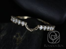 Rosados Box 14kt Yellow Gold Matching Band to 8x6mm Jadis/Maris Diamonds HALFWAY Eternity Band