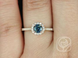 Rosados Box Ready to Ship Kubian 0.67cts 14kt Rose Gold Round Teal Sapphire and Diamonds Round Halo Engagement Ring