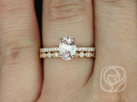 Rosados Box Ready to Ship Darcy 1.60cts & Gwen 14kt Rose Gold Oval Peach Blush Sapphire and Diamonds Cathedral Wedding Set