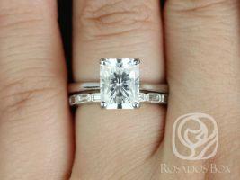 Rosados Box Skinny Nancy 9x7mm & Rihani 14kt White Gold Radiant F1- Moissanite and Diamonds Wedding Set