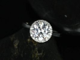 SALE Rosados Box Ready to Ship Monique 8mm Platinum Round FB Moissanite Diamonds Halo Engagement Ring