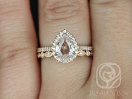 Rosados Box Ready to Ship Tabitha 1.13cts & Gwen Rose Gold Pear Peach Champagne Sapphire and Diamonds Halo Wedding Set