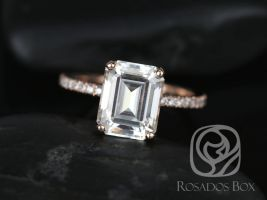 SALE Rosados Box Ready to Ship Vertical Becca 10x8mm 14kt Rose Gold Emerald FB Moissanite and Diamonds Engagement Ring