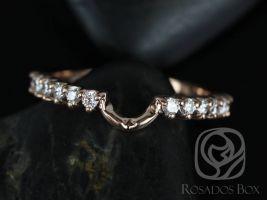 Rosados Box 14kt Rose Gold Matching Band to 8x6mm Jadis/Maris Diamonds HALFWAY Eternity Band