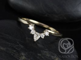 Rosados Box Liza 14kt Yellow Gold Matching Band to Delia 8x6mm Diamonds Wedding Band