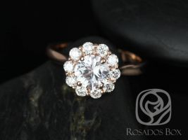 SALE Rosados Box Ready to Ship Blossom 1.17cts 14kt Rose Gold Round White Sapphire and Diamonds Flower Halo Engagement Ring