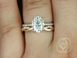 Rosados Box Hillary 9x7mm & Dusty 14kt Rose Gold Oval F1- Moissanite and Diamond Basket Wedding Set