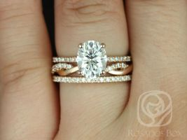 Rosados Box Hillary 9x7mm & Dusty 14kt Rose Gold Oval F1- Moissanite and Diamond Basket TRIO Wedding Set