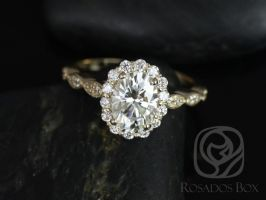 Rosados Box Jubilee 8x6mm Engagement Ring 14kt Yellow Gold Oval F1- Moissanite and Diamond Flower Petal Halo WITHOUT Milgrain Engagement Ring