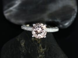 Rosados Box Jenny 8mm 14kt White Gold Round Morganite and Diamonds Pave Engagement Ring