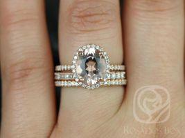 Rosados Box Jessica 10x8mm & Gabriella 14kt Rose Gold Oval Morganite and Diamonds Halo TRIO Wedding Set