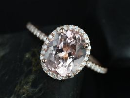 Rosados Box Jessica 10x8mm 14kt Rose Gold Oval Morganite Halo Engagement Ring