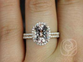 Rosados Box Jessica 10x8mm Original Size 14kt Rose Gold Oval Morganite and Diamonds Halo Wedding Set