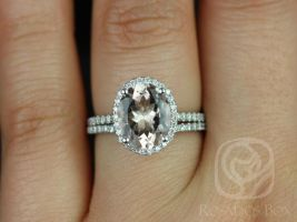 Rosados Box Jessica 10x8mm 14kt White Gold Oval Morganite and Diamonds Halo Wedding Set