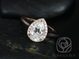 Rosados Box Jorie 10x7mm 14kt Rose Gold Pear F1- Moissanite and Diamonds Extra Low Profile Halo Engagement Ring
