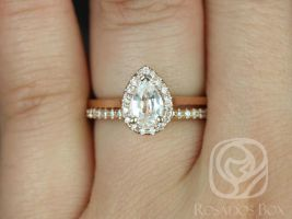 Rosados Box Julie 7x5mm & Kimberly 14kt Rose Gold Pear White Sapphire and Diamonds Halo Wedding Set