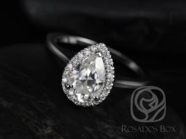 Rosados Box Julie 9x6mm 14kt White Gold Pear F1- Moissanite and Diamonds Plain Shank Halo Engagement Ring