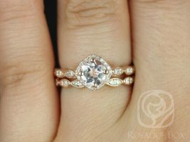 Rosados Box Katya 7mm 14kt Rose Gold Morganite and Diamonds Kite Cushion Halo WITHOUT Milgrain Wedding Set