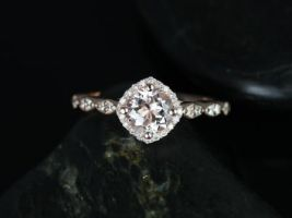 Rosados Box Katya 6mm 14kt Rose Gold Round Morganite and Diamonds Kite Halo WITHOUT Milgrain Engagement Ring