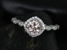 Rosados Box Katya 6mm 14kt White Gold Round Morganite and Diamonds Kite Set Cushion Halo WITHOUT Milgrain Engagement Ring