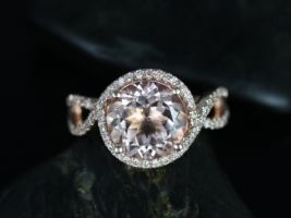 Rosados Box Kendra 10mm 14kt Rose Gold Round Morganite and Diamonds Halo Twist Engagement Ring