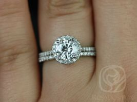 Rosados Box Kimberly 6.5mm 14kt White Gold Round F1- Moissanite and Diamonds Halo Wedding Set