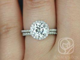 Rosados Box Kimberly 7.5mm 14kt White Gold Round F1- Moissanite and Diamond Halo Wedding Set