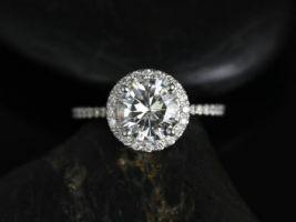 Rosados Box Kimberly 7.5mm Platinum Round Forever One Moissanite Diamonds Halo Engagement Ring