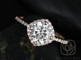 Rosados Box Kitana 7mm Rose Gold Thin Round F1- Moissanite and Diamonds Cushion Halo Engagement Ring