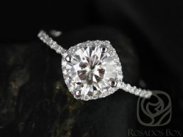 Rosados Box Kitana 7mm14kt White Gold Round F1- Moissanite and Diamonds Cushion Halo Engagement Ring
