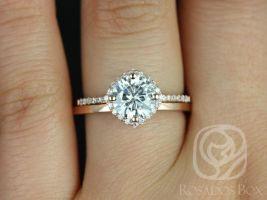 Rosados Box Kitana 7mm & Plain Barra 14kt Rose Gold Round F1- Moissanite and Diamonds Cushion Halo Wedding Set