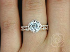 Rosados Box Kitana 7mm & Christie 14kt Rose Gold Round F1- Moissanite and Diamonds Cushion Halo Wedding Set