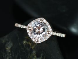 Rosados Box Kitana 7mm 14kt Rose Gold Round  Morganite and Diamonds Cushion Halo Engagement Ring