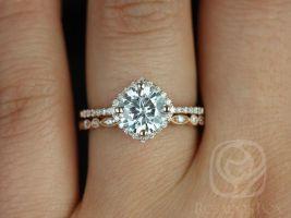 Rosados Box Kitana 7mm & Ultra Petite Bead Eye 14kt Rose Gold Round F1- Moissanite and Diamonds Cushion Halo Wedding Set