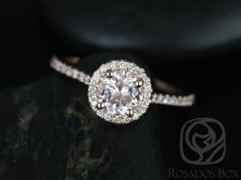 Rosados Box Kubian 6mm 14kt Rose Gold Round Morganite and Diamonds Halo Engagement Ring